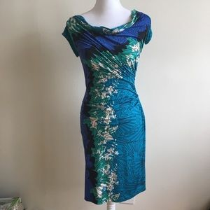 NWOT Silk Blue and Turquoise Pattern Summer Dress